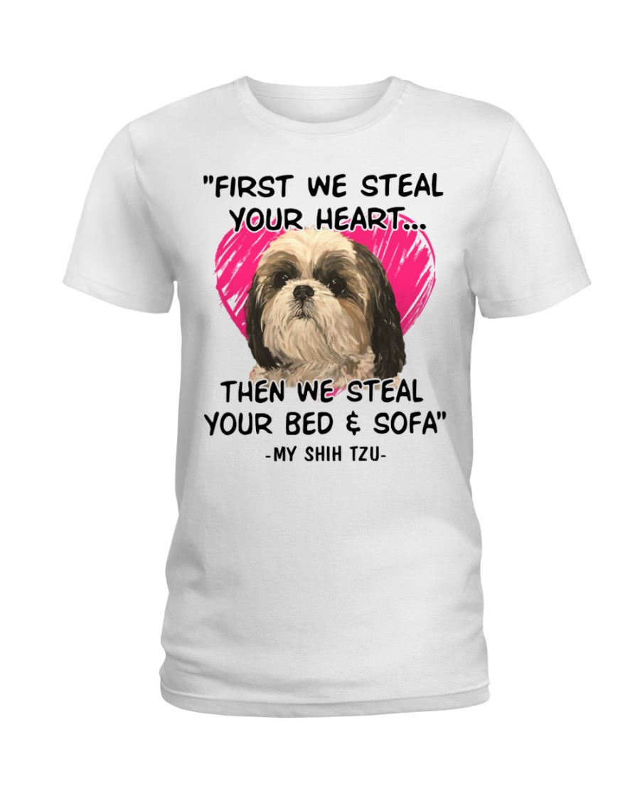 SHIH TZU First We Steal Your Heart Ladies T-Shirt