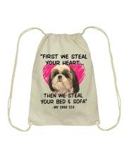 SHIH TZU First We Steal Your Heart Drawstring Bag thumbnail