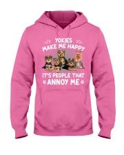 Yorkies make me happy Gift t Shirt Hooded Sweatshirt thumbnail