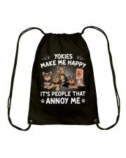 Yorkies make me happy Gift t Shirt Drawstring Bag thumbnail