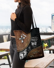 Faith over fear all over tote bag All-over Tote aos-all-over-tote-lifestyle-front-04