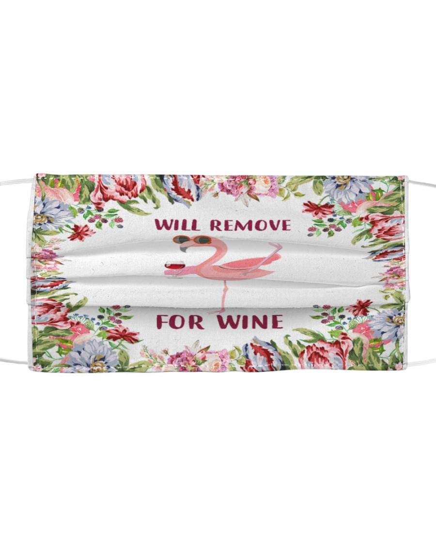 Face mask flamingo will remove for wine Cloth face mask