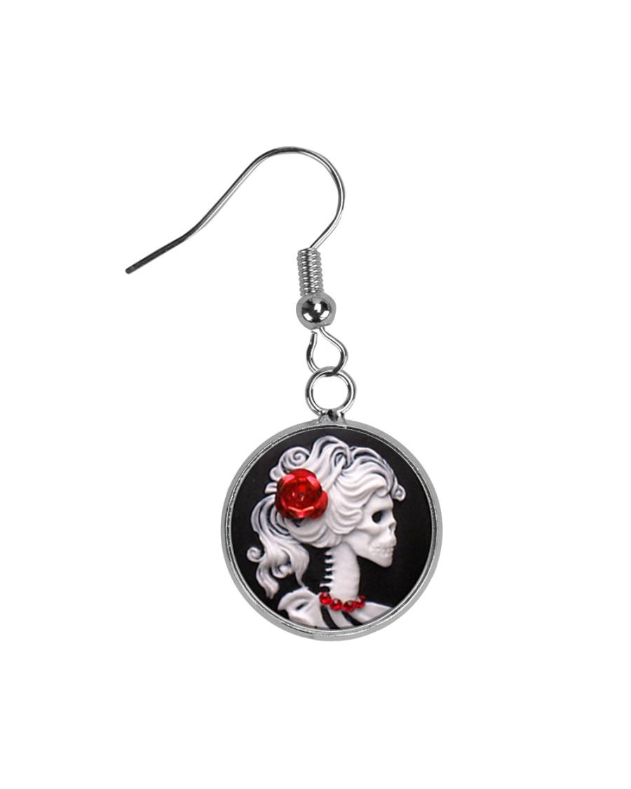Red Rose Skeleton  Circle Earrings