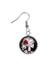 Red Rose Skeleton  Circle Earrings front