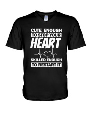 Cute Enough To Stop Your Heart V-Neck T-Shirt thumbnail