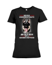 Never Underestimate An Old Man Premium Fit Ladies Tee tile