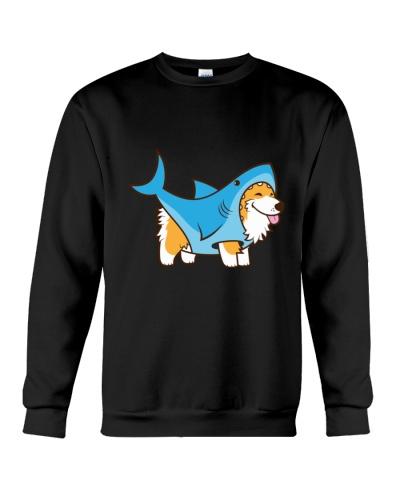Corgi in a Shark Suit