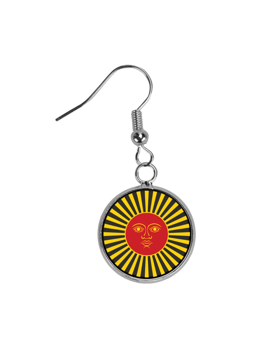 Inca God Of Sun Circle Earrings