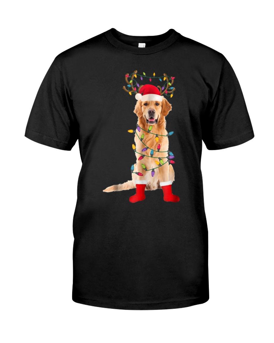 Golden Retriever Santa Christmas Lights T Shirt Classic T-Shirt