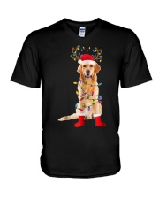 Golden Retriever Santa Christmas Lights T Shirt V-Neck T-Shirt thumbnail