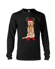 Golden Retriever Santa Christmas Lights T Shirt Long Sleeve Tee thumbnail