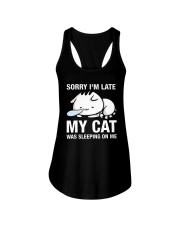 My cat was sleeping on me Ladies Flowy Tank thumbnail