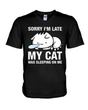 My cat was sleeping on me V-Neck T-Shirt thumbnail