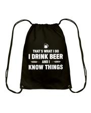 I Drink Beer and I Know Things Drawstring Bag thumbnail