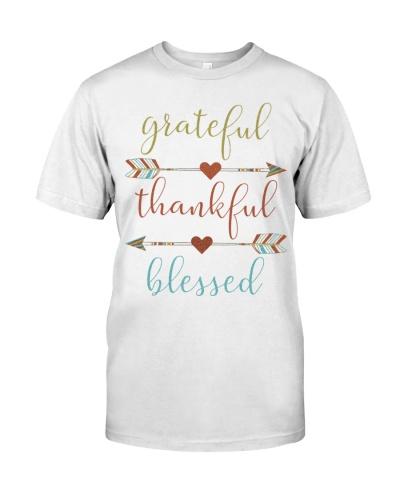 Grateful Thankful Blessed Shirt Thanksgiving Day