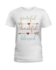 Grateful Thankful Blessed Shirt Thanksgiving Day  Ladies T-Shirt thumbnail