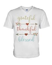 Grateful Thankful Blessed Shirt Thanksgiving Day  V-Neck T-Shirt thumbnail