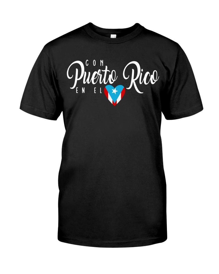 Con Puerto Rico en el corazon  Premium Fit Mens Tee