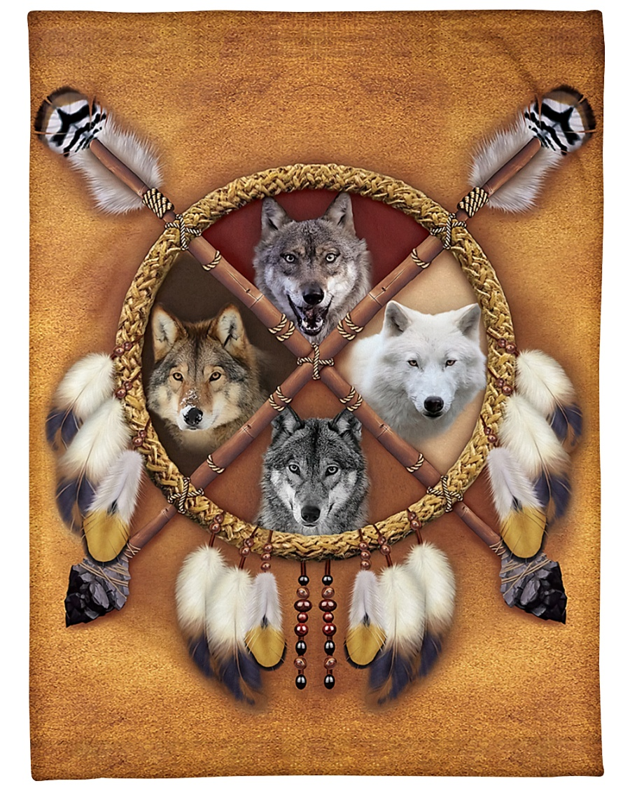 "Limited Edition - 4 Wolf Large Fleece Blanket - 60"" x 80"""