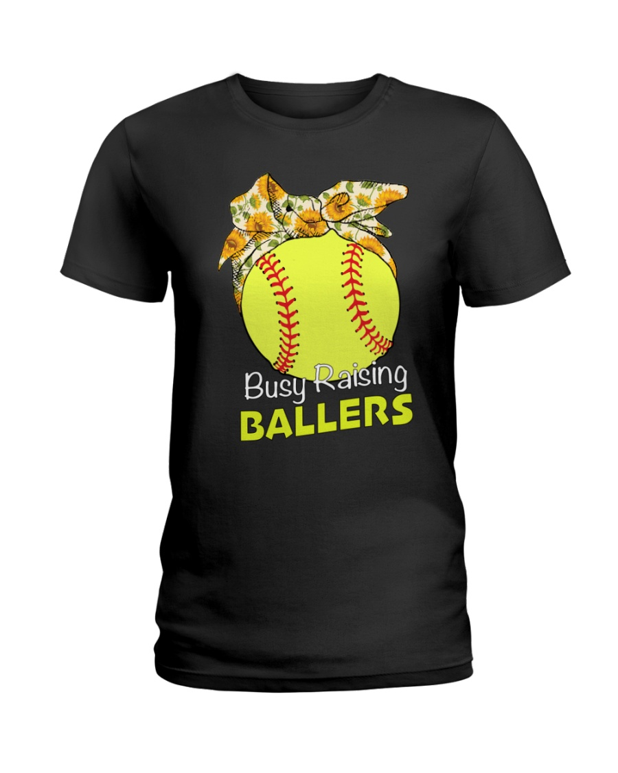 Softball- Busy Raising Ballers Ladies T-Shirt