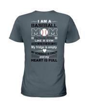 Baseball mom - my heart is full Ladies T-Shirt back