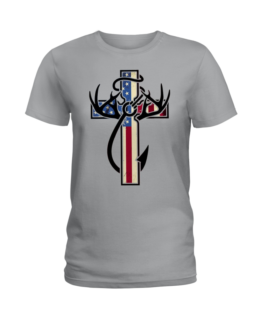 Hunting Faith Flag - front only Ladies T-Shirt