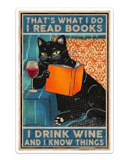 Cat Books Wine Sticker - Single (Vertical) thumbnail