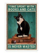 Time spent with books and cats is never wasted Sticker - Single (Vertical) thumbnail