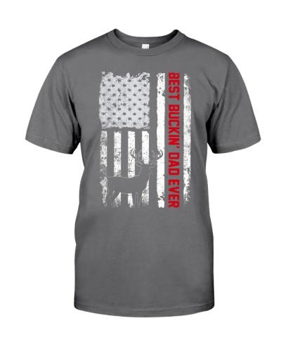 Best Buckin Dad Ever USA Flag T-Shirt