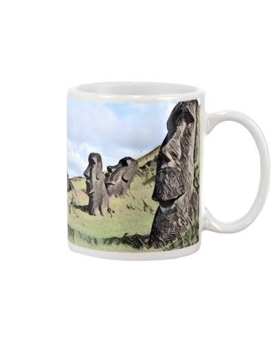 Chile Easter Island Moais Ahu Tongariki Colored