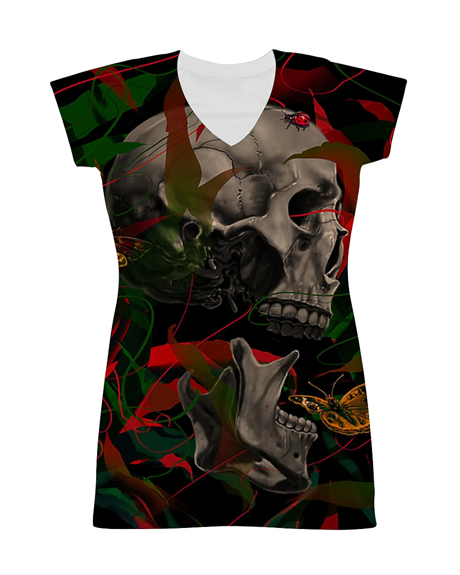 3D PRINT SKULL T-SHIRT All-over Dress
