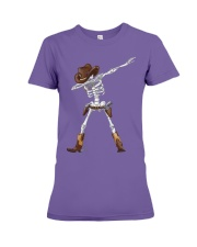 DABBING SKELETON COWBOY HAT HALLOWEEN FUNNY DAB Premium Fit Ladies Tee thumbnail