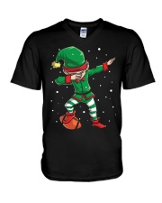 DABBING ELF FOOTBALL DABBING SANTA V-Neck T-Shirt tile