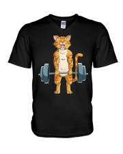 CAT FITNESS GYM LIFTING WEIGHTS V-Neck T-Shirt tile