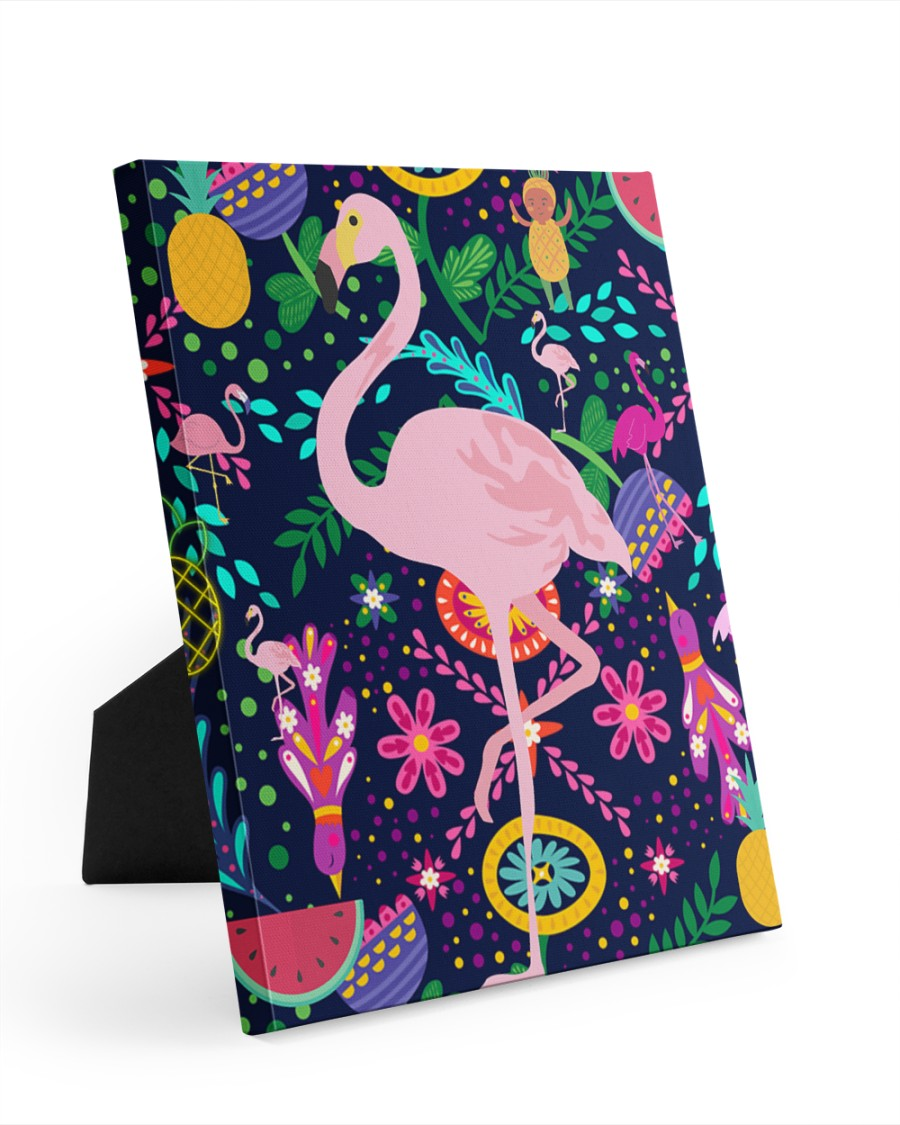 flamingo bird pineapple summer mask   8x10 Easel-Back Gallery Wrapped Canvas