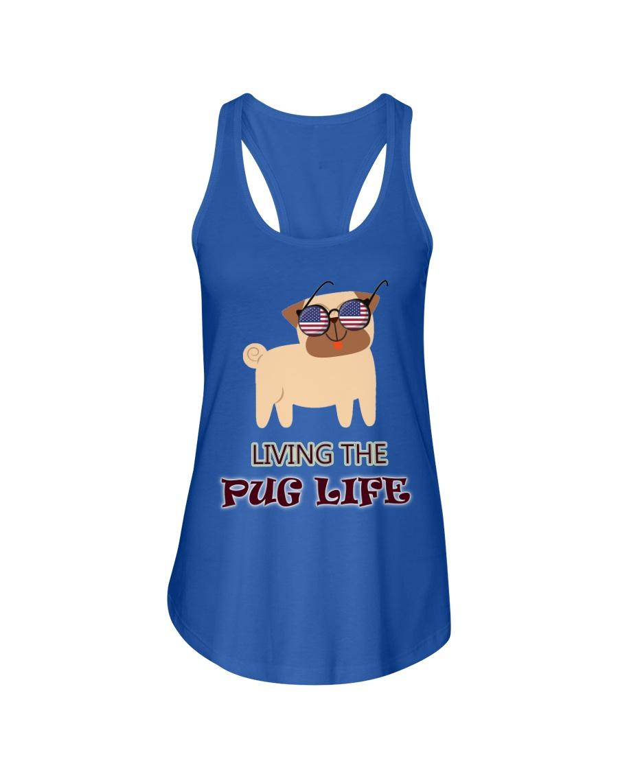 usa Living the pug life shirt Ladies Flowy Tank