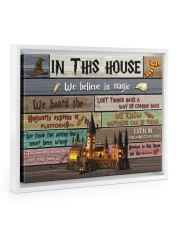 In This House We Believe In Magic Floating Framed Canvas Prints White tile