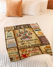 """Easily Distracted By Cats And Books Small Fleece Blanket - 30"""" x 40"""" aos-coral-fleece-blanket-30x40-lifestyle-front-01"""