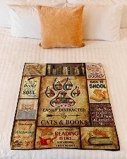 """Easily Distracted By Cats And Books Small Fleece Blanket - 30"""" x 40"""" aos-coral-fleece-blanket-30x40-lifestyle-front-04"""