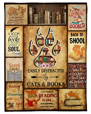 """Easily Distracted By Cats And Books Small Fleece Blanket - 30"""" x 40"""" front"""
