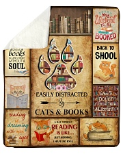 """Easily Distracted By Cats And Books Sherpa Fleece Blanket - 50"""" x 60"""" thumbnail"""