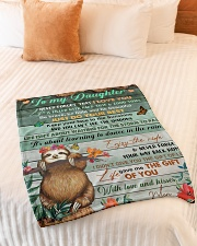 """Gift For Daughter - To My Daughter Sloth Small Fleece Blanket - 30"""" x 40"""" aos-coral-fleece-blanket-30x40-lifestyle-front-01"""