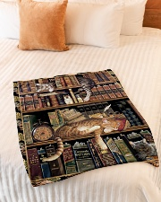 "Gift For Book And Cat Lovers Small Fleece Blanket - 30"" x 40"" aos-coral-fleece-blanket-30x40-lifestyle-front-01"