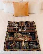 "Gift For Book And Cat Lovers Small Fleece Blanket - 30"" x 40"" aos-coral-fleece-blanket-30x40-lifestyle-front-04"
