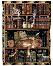 Gift For Book And Cat Lovers Fleece Blanket tile