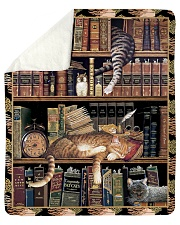 "Gift For Book And Cat Lovers Sherpa Fleece Blanket - 50"" x 60"" thumbnail"