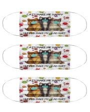 Cats Make Me Happy Humans Make My Head Hurt Cloth Face Mask - 3 Pack front