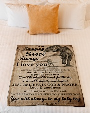 """Gift For Son - To My Son Dinosaur Small Fleece Blanket - 30"""" x 40"""" aos-coral-fleece-blanket-30x40-lifestyle-front-04"""