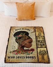 """Just A Girl Who Loves Books - Gift For Book Lovers Small Fleece Blanket - 30"""" x 40"""" aos-coral-fleece-blanket-30x40-lifestyle-front-04"""