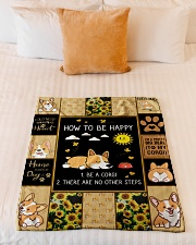 """Gift For Corgi Lovers - How To Be Happy Small Fleece Blanket - 30"""" x 40"""" aos-coral-fleece-blanket-30x40-lifestyle-front-04"""
